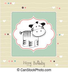 baby, kaart, schattig, zebra, douche