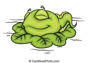 baby, karikatur, frosch, eingeschlafen