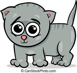 baby, kat, spotprent, illustratie, katje