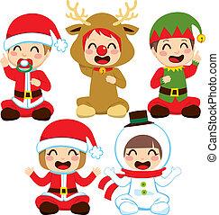 baby, kerstmis, kostuums