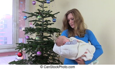 baby, kerstmis, moeder
