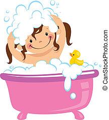 Baby kid girl bathing in bath tub and washing hair - A baby...