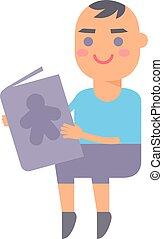 Baby kid read book vector illustration.