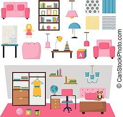 Baby kids room interior vector set.