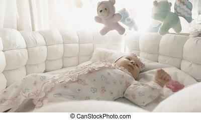 baby, kinderbed, haar, meisje, pasgeboren