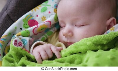 baby, kinderwagen, slapende