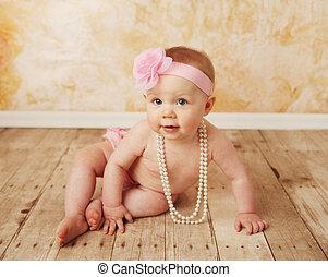 baby, klänning, leka, nätt, uppe