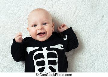 baby, klätt, skelett
