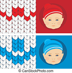 Baby knitted caps. Banner for design. Vector illustration