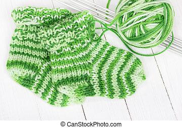 Baby knitting socks