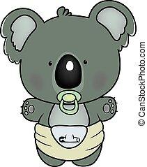 baby koala - sweet little koala in diaper isolated on white...