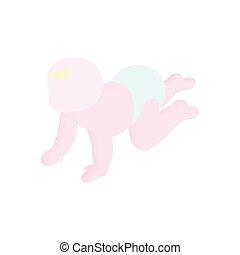 baby kruipen, isometric, 3d, pictogram