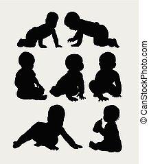 baby kruipen, silhouette