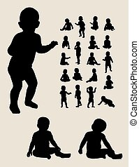baby kruipen, silhouettes