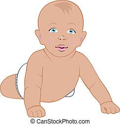 baby kruipen, vrijstaand, op wit