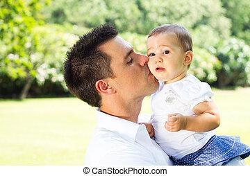 baby, kussende , vader, dochter
