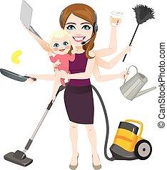 baby, kvinna, multitask, holdingen