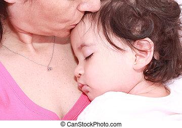 baby, kvinna, sova