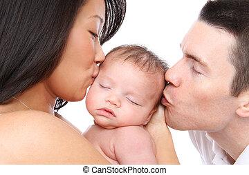 baby, kyssande, föräldrar
