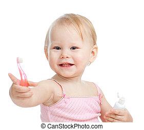 baby, lächeln, reinigende zähne