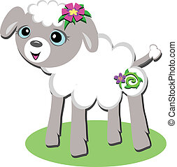 Baby Lamb with Flowers and Grass