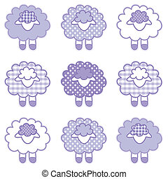 Patchwork baby lambs in pastel lavender gingham and polka dots for baby books, scrapbooks, albums, spring, Easter. EPS8 compatible.