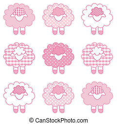 Baby Lambs, Patchwork, Pastel Pink - Patchwork baby lambs in...