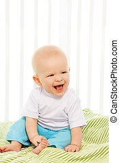 Baby laugh in his crib
