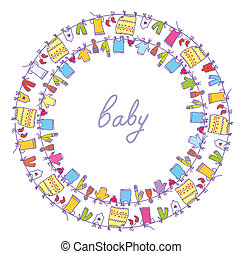 Baby laundry cute frame round motive