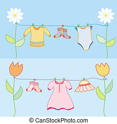 Baby laundry for boy and girl arrival background for the card