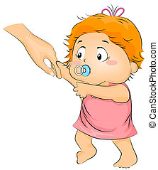 Illustration of a Baby Trying to Learn How to Walk