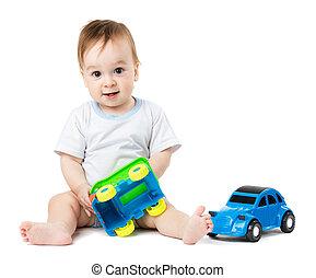 baby, leka, med, leksak bilar