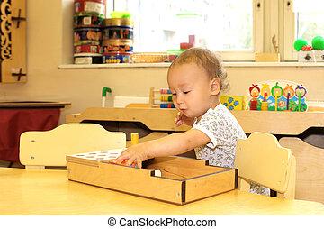 baby, leka, med, leksak spärrar