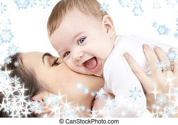 baby, leka, skratta, mor