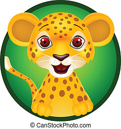 Baby leopard cartoon - vector illustration of Baby leopard...