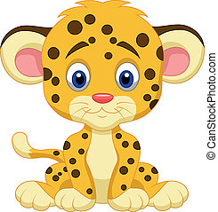 baby, leopard, karikatur