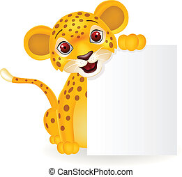 Baby leopard with blank sign - vector illustration of Baby...