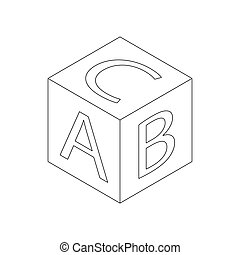 Baby letter cube icon, isometric 3d style
