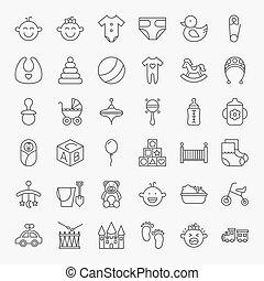 Baby Line Art Design Icons Big Set