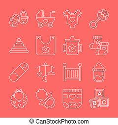 Baby line icon set