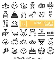 Baby line icon set, toy symbols collection, vector sketches, logo illustrations, children signs linear pictograms package isolated on white background, eps 10.