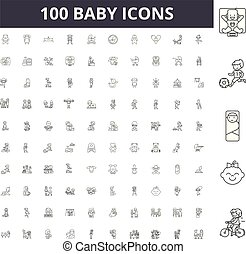 Baby line icons, signs, vector set, outline illustration concept