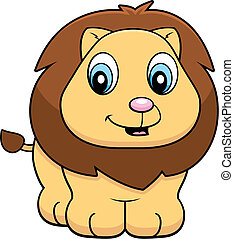 Baby Lion - A happy cartoon baby lion standing and smiling.