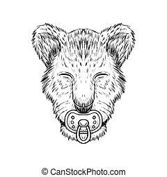 Baby Lion hand drawn vector illustration