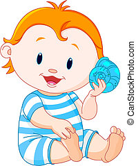 Baby listen to sea shell - Cute summer boy listen to sea ...