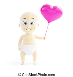 baby love balloon heart 3d Illustrations on a white background