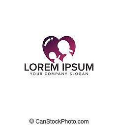 baby love care logo. family care logo design concept template