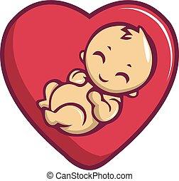 Baby love icon, cartoon style - Baby love icon. Cartoon...