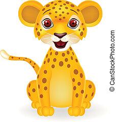 baby, luipaard, spotprent