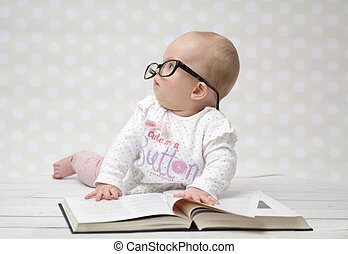 baby, lustiges, m�dchen, buch, lesende